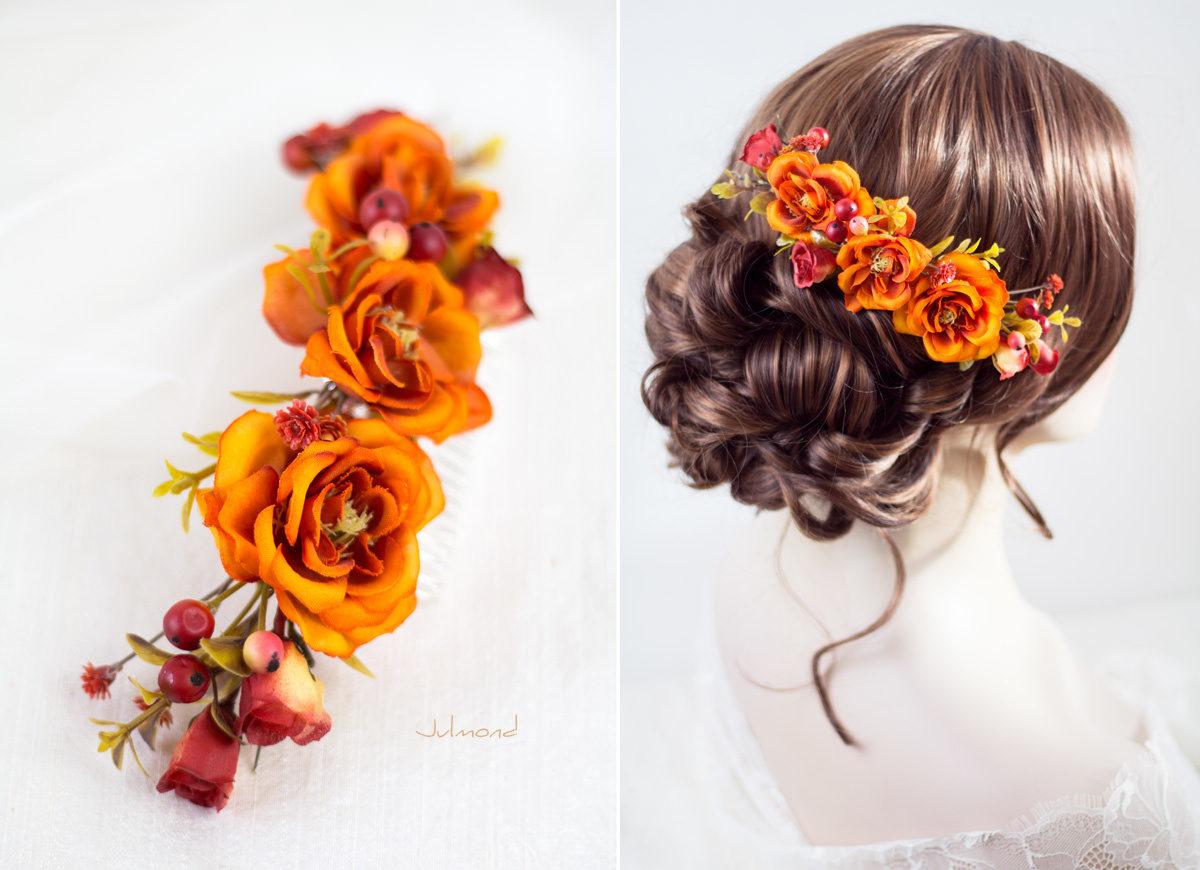 Alcea Haarkamm Blumen Hochzeit Oktoberfest Orange-01