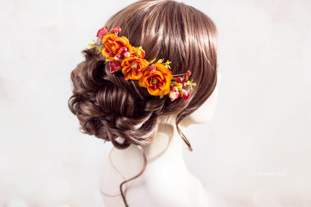 Alcea Haarkamm Blumen Hochzeit Oktoberfest Orange-02