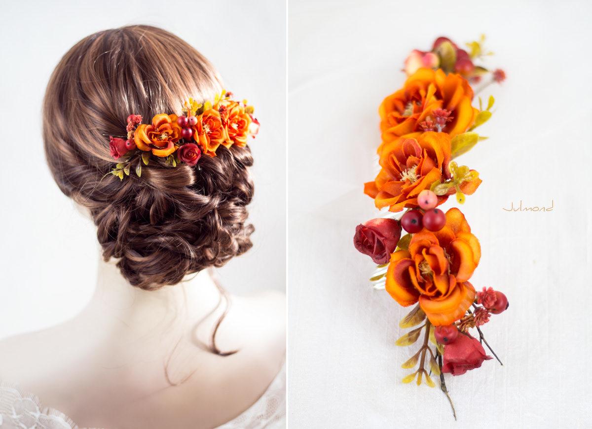 Alcea Haarkamm Blumen Hochzeit Oktoberfest Orange-03