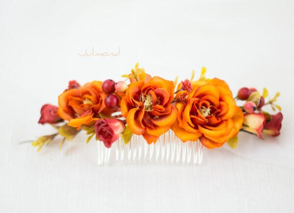 Alcea Haarkamm Blumen Hochzeit Oktoberfest Orange-04