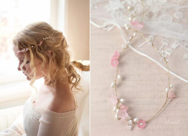 Amanda III Diadem Braut Perlen Hochzeit Rosa-01
