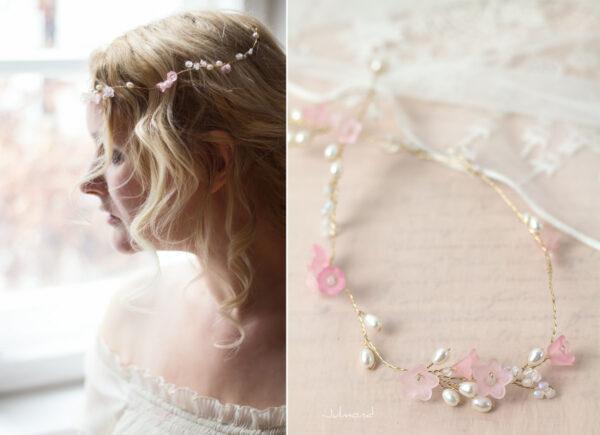 Amanda III Diadem Braut Perlen Hochzeit Rosa-03