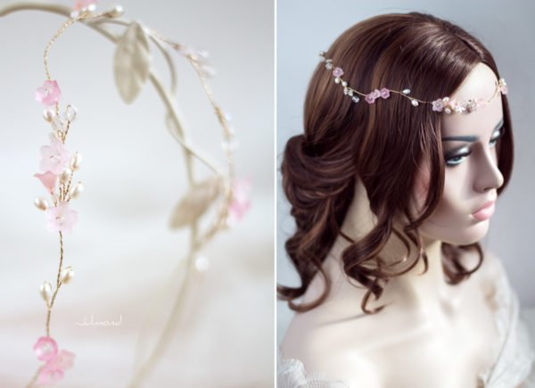 Amanda III Diadem Braut Perlen Hochzeit Rosa-05