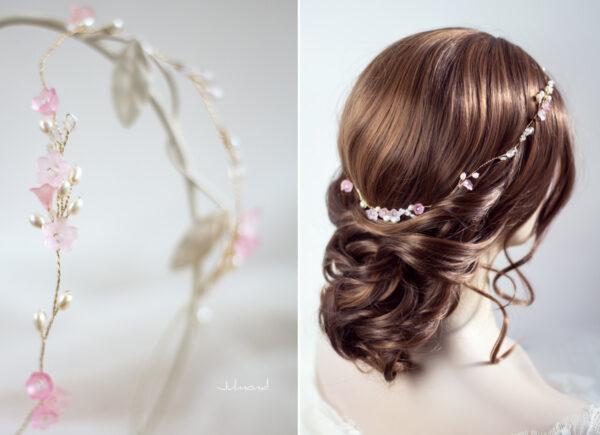 Amanda III Diadem Braut Perlen Hochzeit Rosa-06