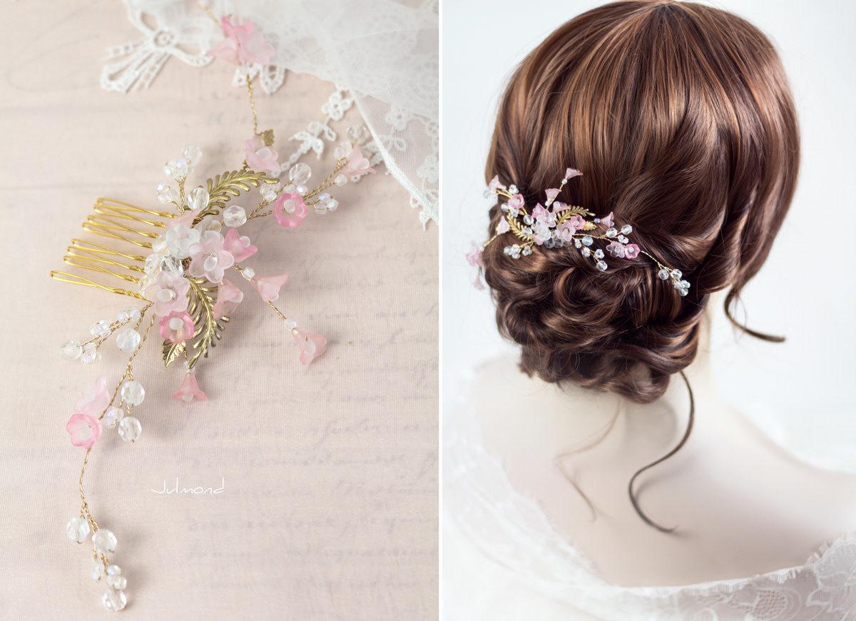 Amanda IV Haarschmuck Perlen Haarkamm Hochzeit Rosa-01
