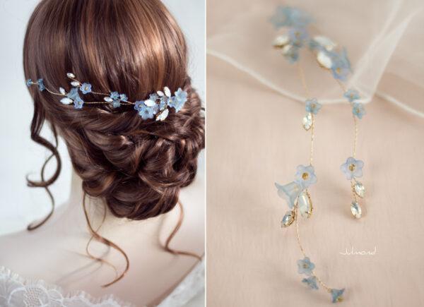 Andima Haarschmuck Blumen Hochzeit Blau-04