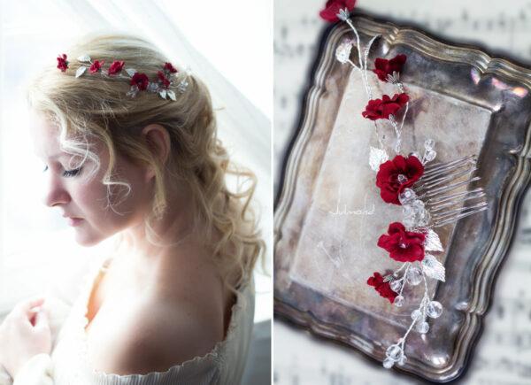 Anjo Haarschmuck Hochzeit Blumen Rot Haarkamm-01