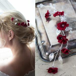 Anjo Haarschmuck Hochzeit Blumen Rot Haarkamm-05