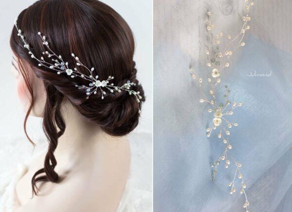 Cora Haarschmuck Hochzeit Echte Perlen Haarband Tiara-09