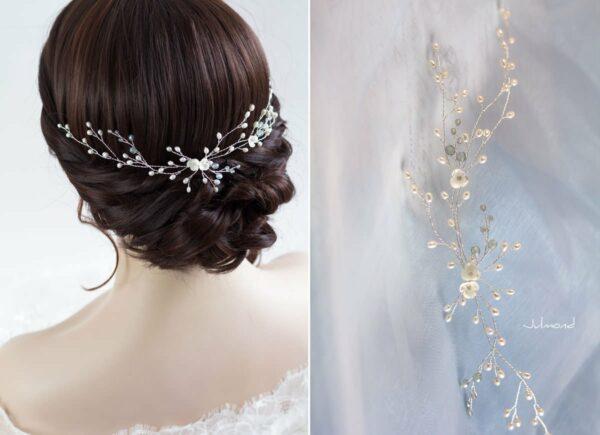 Cora Haarschmuck Hochzeit Echte Perlen Haarband Tiara-10