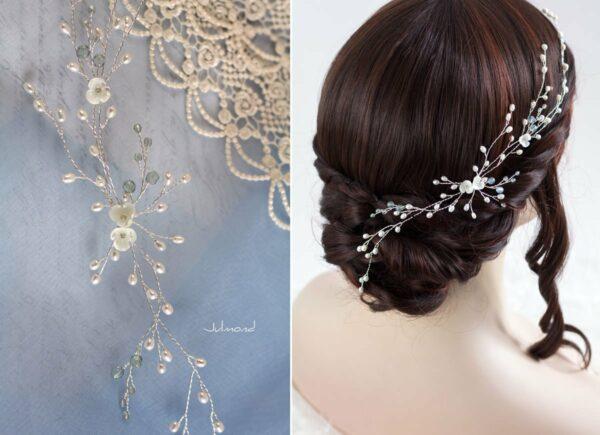 Cora Haarschmuck Hochzeit Echte Perlen Haarband Tiara-11