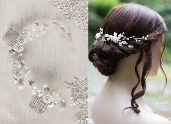 Crisula Diadem Perlen Rosen Braut Hochzeit Haarschmuck-10