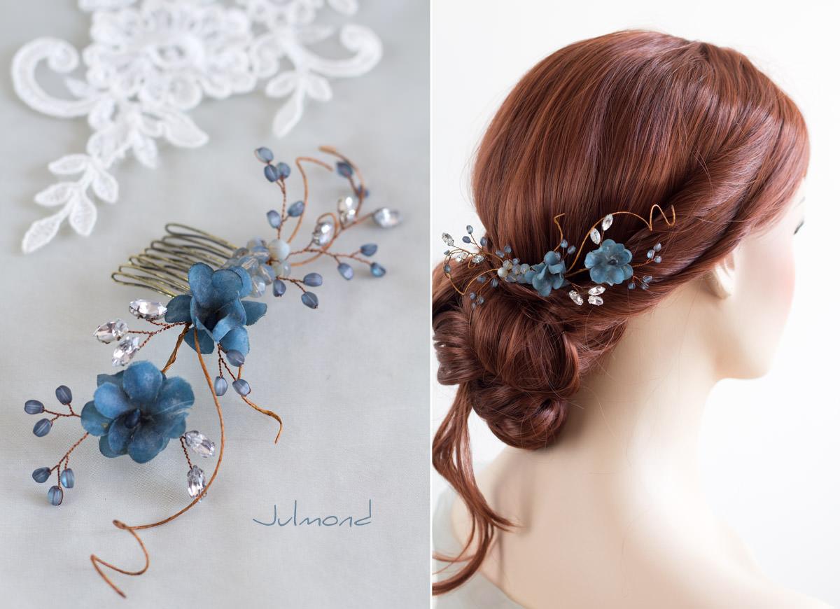 Braut haarschmuck strass  Emma 2 Haarschmuck Vintage Braut Strass Perlen Blau Haarkamm-02 ...