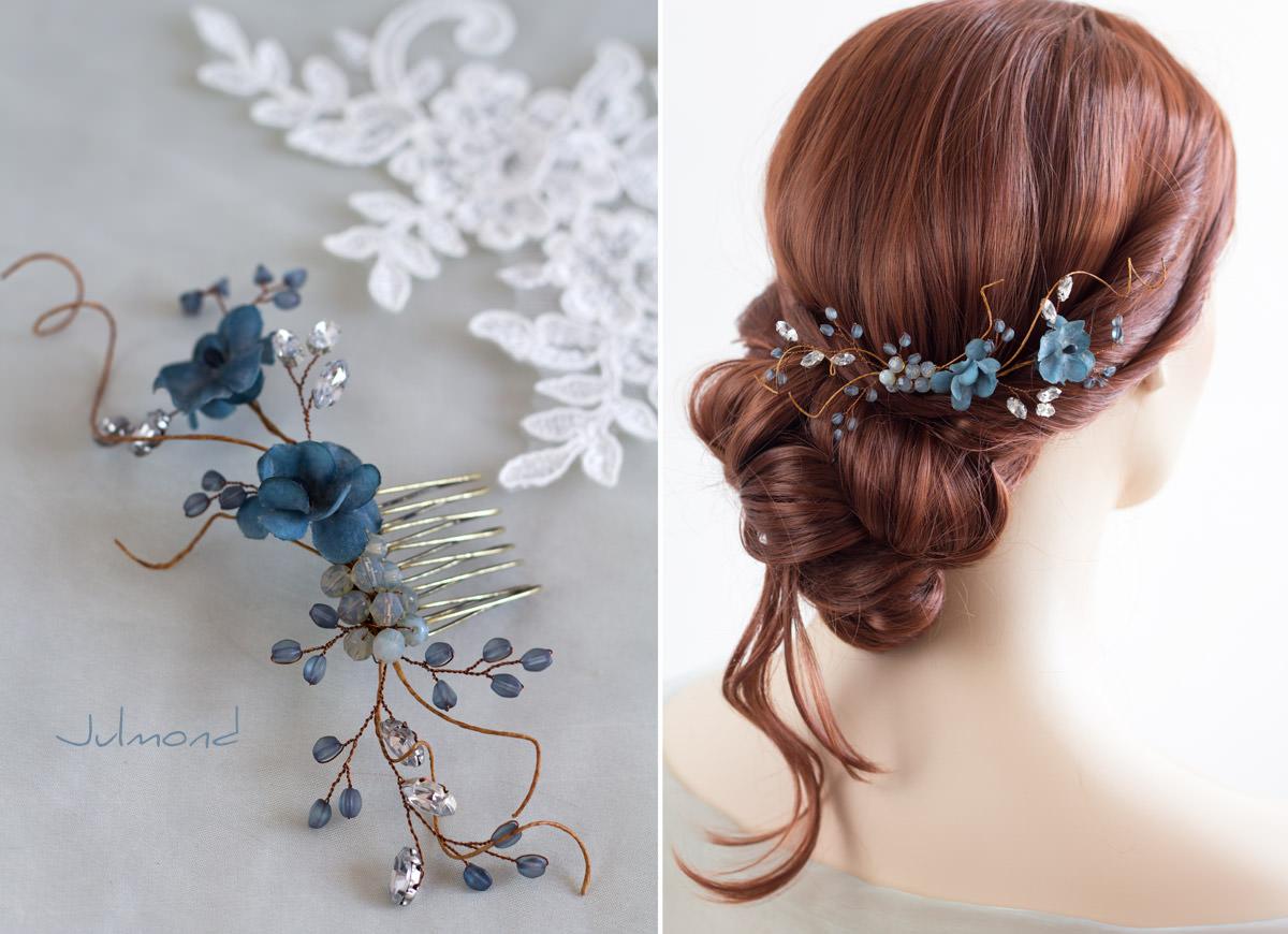 Braut haarschmuck strass  Emma 2 Haarschmuck Vintage Braut Strass Perlen Blau Haarkamm-03 ...