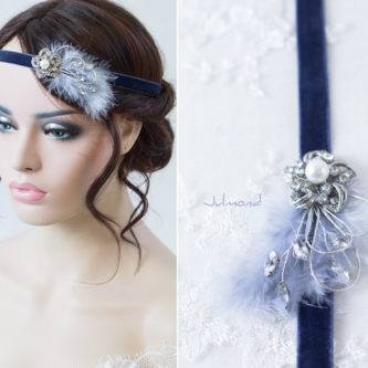 Evolet Haarband Fascinator Blau Strass Haarschmuck-06