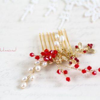 Geradena Haarkamm Gold Echte Perlen Hochzeit Rot-06