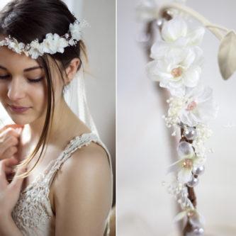 Hadice II Haarkranz Tiara Hochzeit Blumen Perlen Braut-12