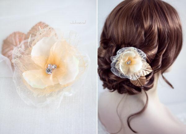 Hanna Haarblüte Spitze Hochzeit Haarclip Apricot-01