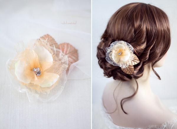Hanna Haarblüte Spitze Hochzeit Haarclip Apricot-02