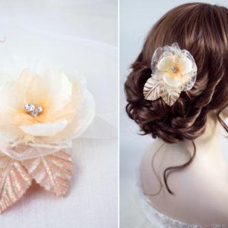 Hanna Haarblüte Spitze Hochzeit Haarclip Apricot-03
