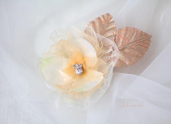 Hanna Haarblüte Spitze Hochzeit Haarclip Apricot-04