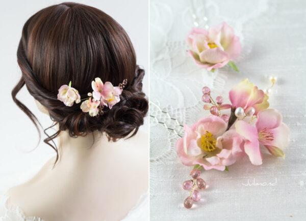 India Haarnadel Hochzeit Haarschmuck Perlen Rosen-05