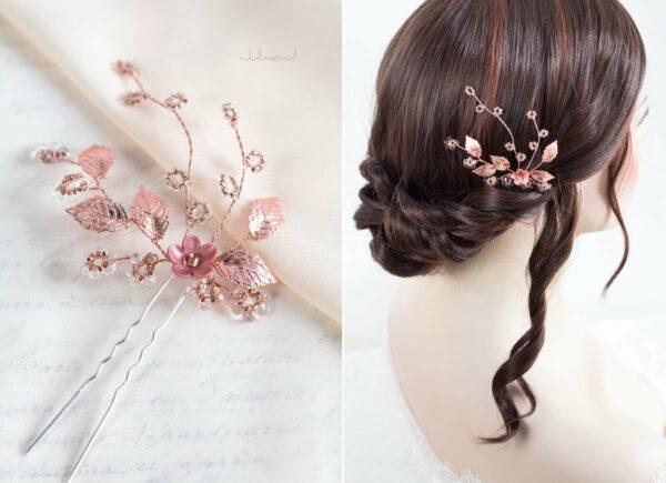 Inessa Hochzeit Haarnadel Perlen Rosegold-01