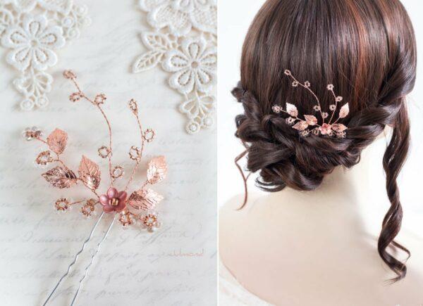 Inessa Hochzeit Haarnadel Perlen Rosegold-02