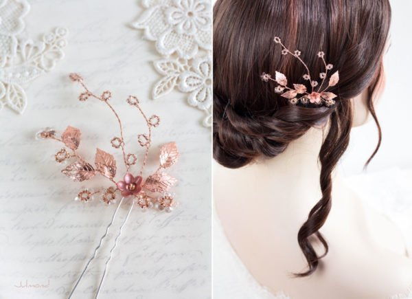Inessa Hochzeit Haarnadel Perlen Rosegold-04