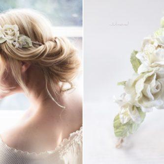 Ivoire Haarband Blumen Elfenbein Hochzeit Vintage-02