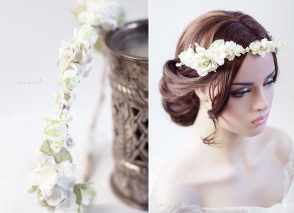 Ivoire Haarband Blumen Elfenbein Hochzeit Vintage-03