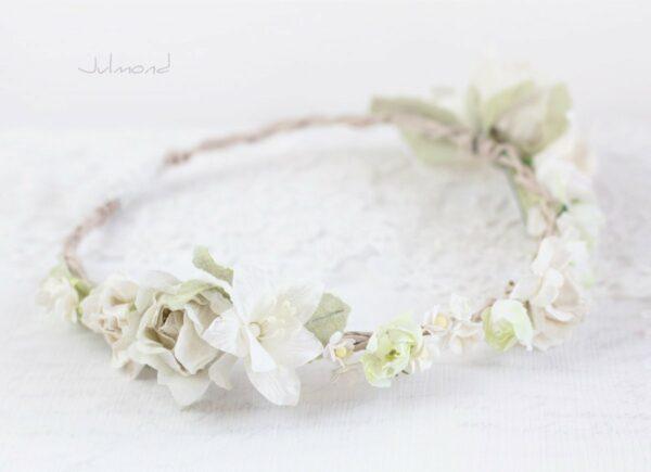 Ivoire Haarband Blumen Elfenbein Hochzeit Vintage-04