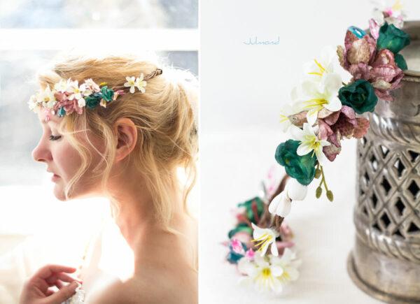 Izabel Blumenkranz Blumen Perlen Boho Hochzeit 01