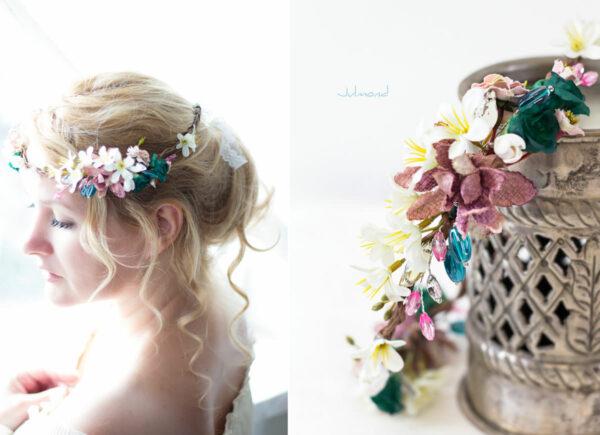 Izabel Blumenkranz Blumen Perlen Boho Hochzeit 02