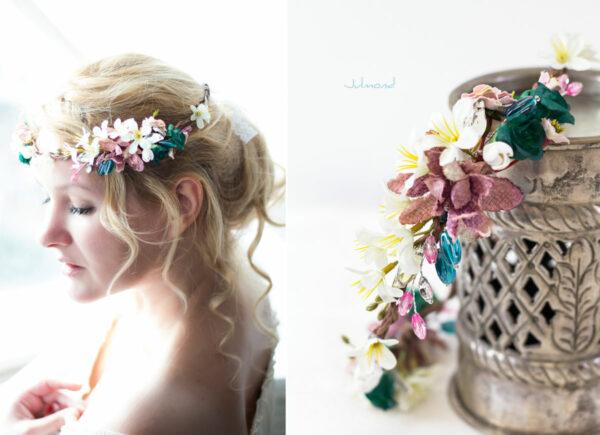 Izabel Blumenkranz Blumen Perlen Boho Hochzeit 03