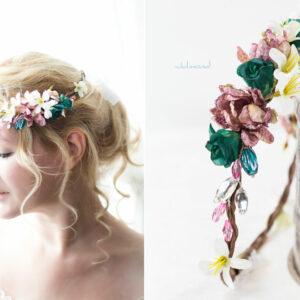 Izabel Blumenkranz Blumen Perlen Boho Hochzeit 04