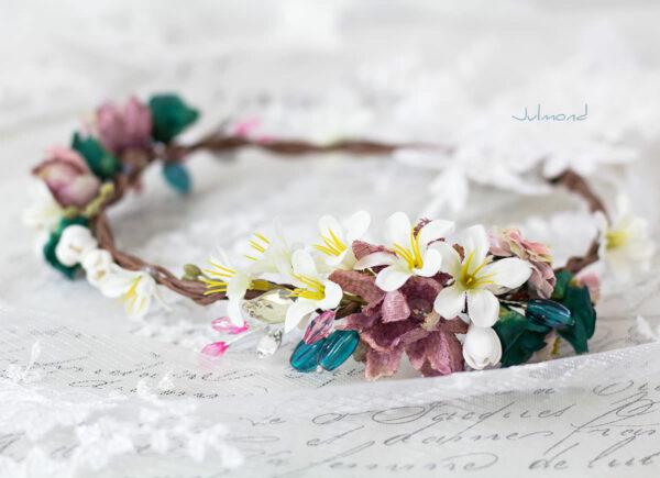 Izabel Blumenkranz Blumen Perlen Boho Hochzeit 05