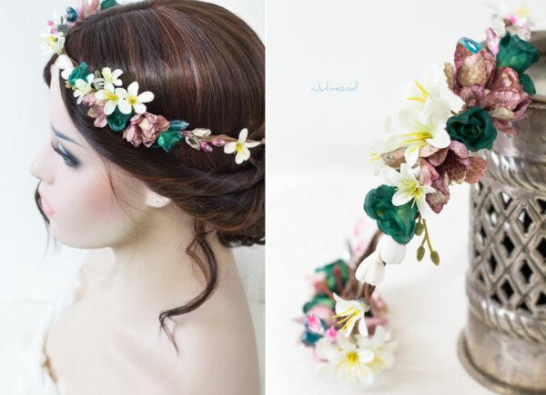 Izabel Blumenkranz Blumen Perlen Boho Hochzeit 06