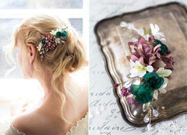 Izabel II Haarblüte Blumen Perlen Boho Hochzeit 01