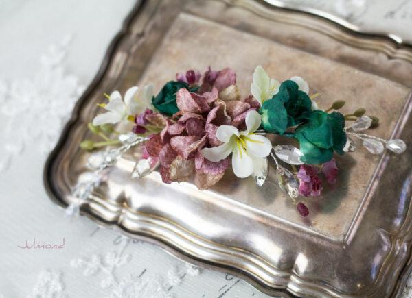 Izabel II Haarblüte Blumen Perlen Boho Hochzeit 02