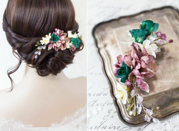 Izabel II Haarblüte Blumen Perlen Boho Hochzeit 03