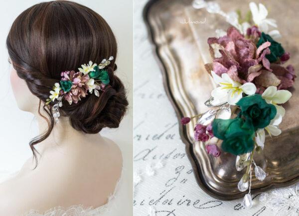 Izabel II Haarblüte Blumen Perlen Boho Hochzeit 04
