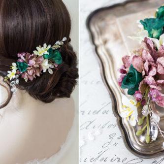 Izabel II Haarblüte Blumen Perlen Boho Hochzeit 05