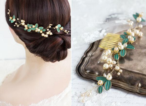 Jamiro Haarschmuck Hochzeit Gold Haarkamm-01