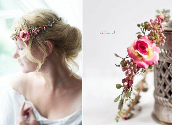 Jelima Blumenkranz Haarschmuck Rot Hochzeit Haarband-01