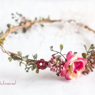 Jelima Blumenkranz Haarschmuck Rot Hochzeit Haarband-02