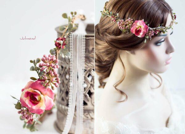 Jelima Blumenkranz Haarschmuck Rot Hochzeit Haarband-03