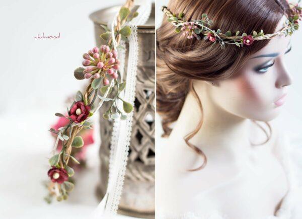 Jelima Blumenkranz Haarschmuck Rot Hochzeit Haarband-04