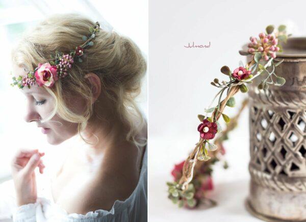 Jelima Blumenkranz Haarschmuck Rot Hochzeit Haarband-05