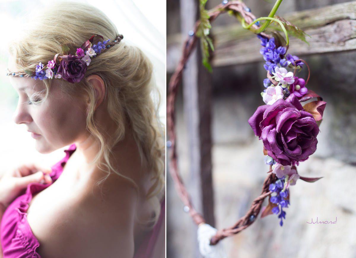 Jelly Haarkranz Blumen Blau Hochzeit Haarband-01